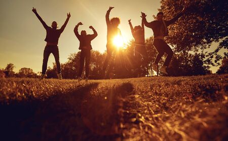 A group of young people jumping on the grass in the park at sunset. Happy friends on nature in the rays of the sun. Stockfoto