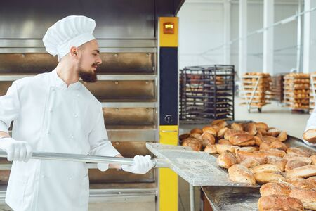 Side view of bearded man in white uniform and gloves putting freshly baked bread loaves with spade on counter Фото со стока