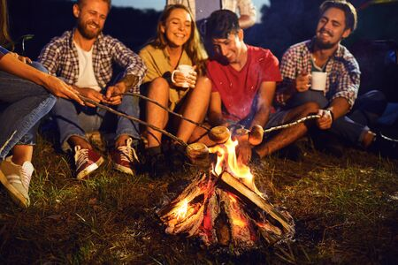 Campfire travel picnic camping trip concept. Bonfire at night on a background of young smiling people on a picnic in autumn summer.