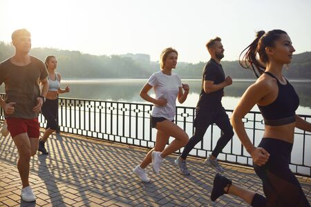 Group of runners in the park in the morning. Jogging. Health. Healthy lifestyle. Stockfoto