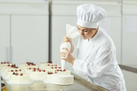 Confectioner woman decorating cake in pastry shop.