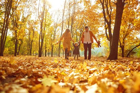 Parents with the daughter play in park in the fall. Stockfoto
