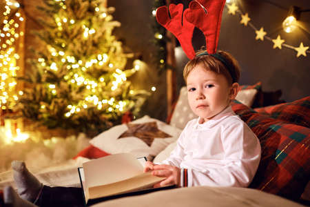 Boy read books in the room in Christmas.