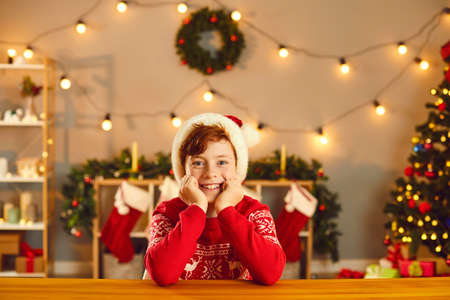 Smiling boy in red Christmas clothing and hat sitting and looking at camera over festive deorated room interior at background. Happy children during New Year holidays concept