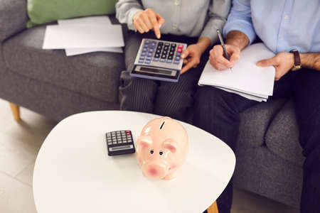 Couple sitting on sofa at home, counting money on calculator, doing paperwork, paying household utility bills, planning shopping expenses. People and finance, managing family budget, saving up concept