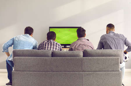 Back view of young men sitting on comfortable grey sofa and watching live football game on TV. Group of 4 friends relaxing on soft couch at home and enjoying interesting soccer match on television Reklamní fotografie