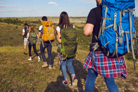 Group of young travelers hikers hiking with backpacks in row on nature together during summer vacations 스톡 콘텐츠