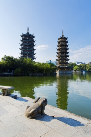 Beautiful view of the twin pagodas in Guilin, China Stock Photo