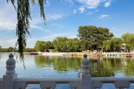 guard rail: The famous Houhai Lake in the old city center of Beijing, China Stock Photo