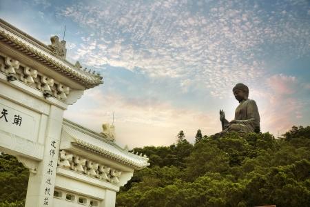 Giant bronze Buddha statue in Hong Kong, China Stock Photo