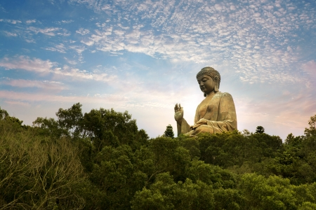 chinese buddha: Giant bronze Buddha statue in Hong Kong, China Stock Photo