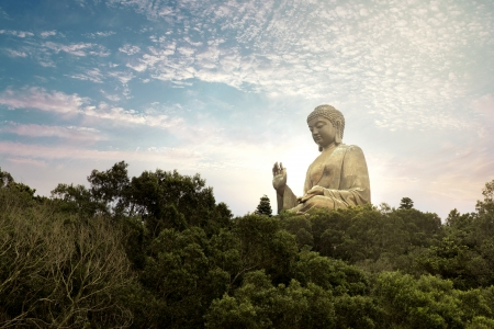 big buddha: Giant bronze Buddha statue in Hong Kong, China Stock Photo
