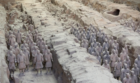 Mooi uitzicht op het terracottaleger in Xian, China Stockfoto