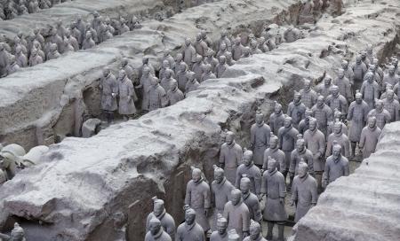 시안 (西安), 중국의 테라코타 군대의 아름 다운보기 스톡 콘텐츠