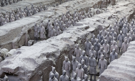 Beautiful view of the terracotta army in Xian, China