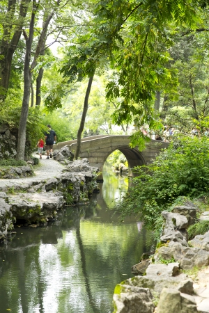 Chinese classical garden with pavilions and pond in Suzhou, China photo