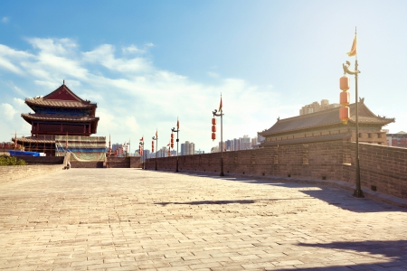 Beautiful view of ancient city wall of Xian, China photo
