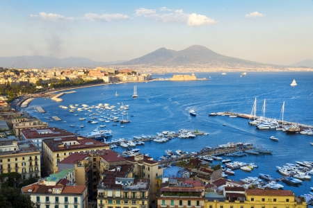 Panorama of Naples, view of the port in the Gulf of Naples and Mount Vesuvius photo