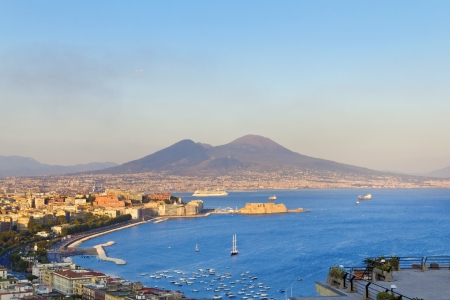 panorama view: Panorama of Naples, view of the port in the Gulf of Naples and Mount Vesuvius