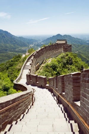 The beautiful view of the Great Wall of China Фото со стока