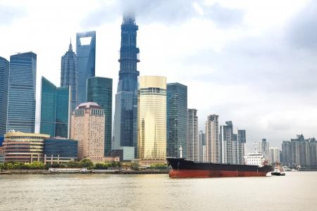The beautiful view of the Bund in Shanghai, China photo