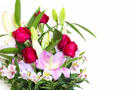 Beautiful flower bouquet with mixed flowers and colored