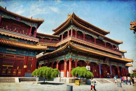 lama: Beautiful view of the Lama temple in Beijing, China