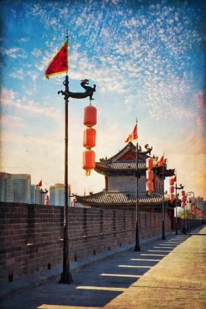 Beautiful view of ancient city wall of Xian, China