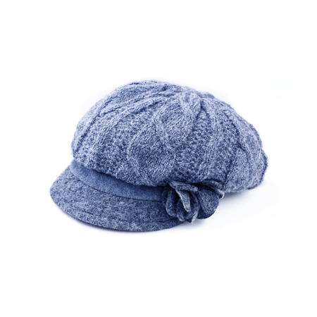 knitten: Blu Wool knit Hat Cap with Embroidered Flower isolated on white background Stock Photo