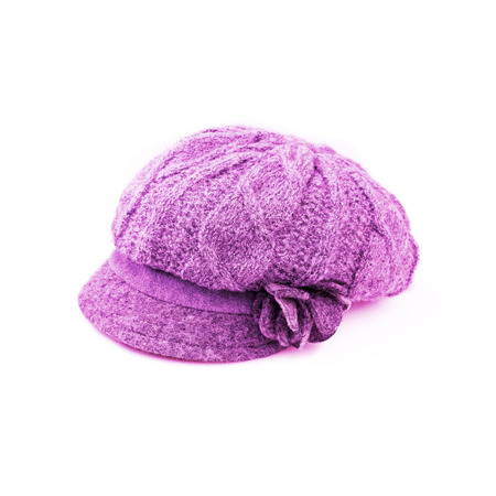 knitten: Pink Wool knit Hat Cap with Embroidered Flower isolated on white background