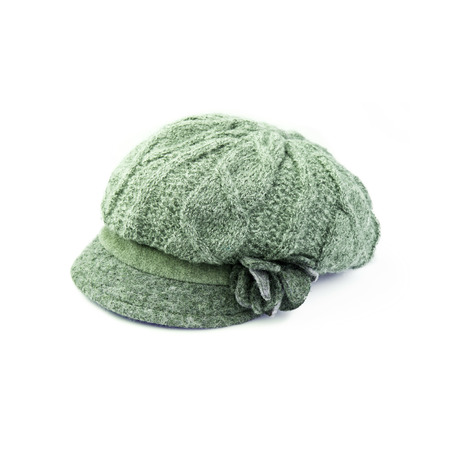 knitten: Green Wool knit Hat Cap with Embroidered Flower isolated on white background Stock Photo