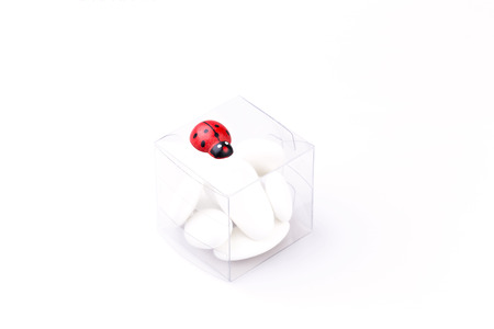 comfits: Comfits white in a transparent skatole with ladybug