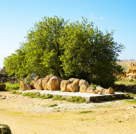 telamon: Ruins of Temple of Zeus in the Valley of the Temples in Agrigento, Sicily, Italy Stock Photo