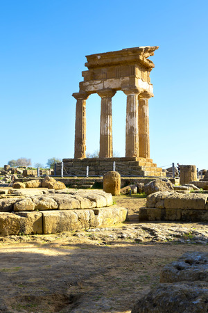 valley of the temples: Ancient Greek Temple of the Dioscuri (V-VI century BC) in Valley of the Temples, Agrigento, Sicily.  Stock Photo
