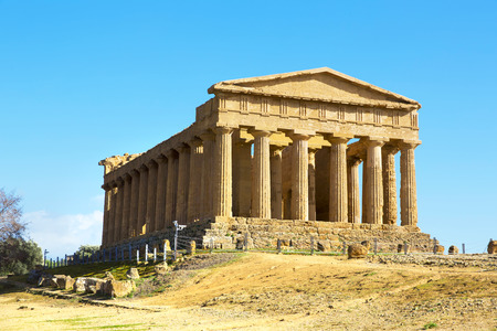 agrigento: Temple of Concordia. Valley of the Temples in Agrigento on Sicily, Italy Stock Photo