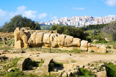 Ruins of Temple of Zeus in the Valley of the Temples in Agrigento, Sicily, Italy Stock Photo