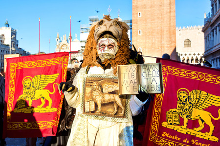 Carnival of Venice, beautiful masks at St. Mark's Square photo