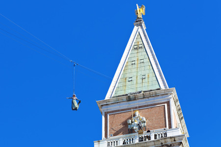 st mark's square: Flight of the dove from the bell tower of St. Marks Square in Venice, opening of the Carnival