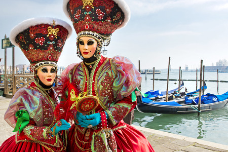 Carnival of Venice, beautiful masks at St. Mark's Square Standard-Bild