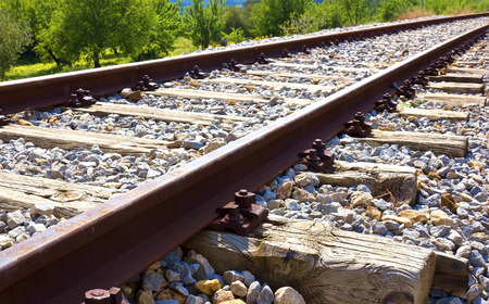 View of the rails of a railroad photo