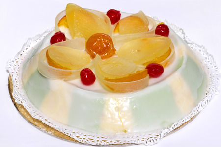 Cassata, typical Sicilian cake on white background