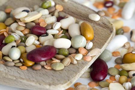 borlotti beans: Mixed vegetables on a white background, macro, focus selected