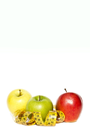 Fresh Green, Yellow and Red Apples Isolated on White Background photo