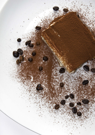 Portion of  tiramisu dessert served on a white plate  photo
