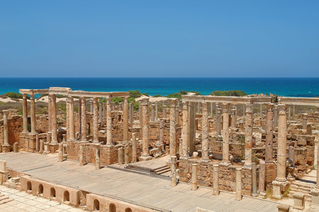 The Theater at the spectacular ruins of Leptis Magna near Al Khums, Libya Stock Photo