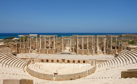 The Theater at the spectacular ruins of Leptis Magna near Al Khums, Libya Imagens