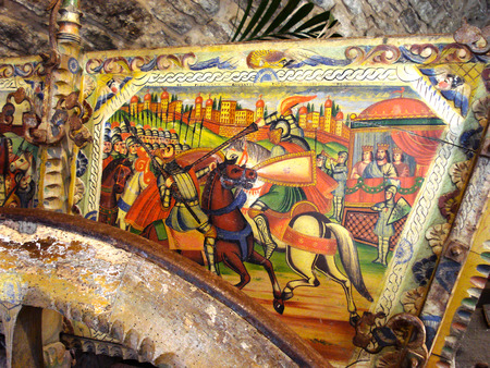 folkloristic: Detail of a Sicilian cart richly decorated