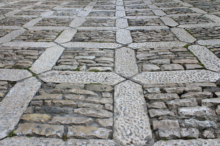 erice: Old pavement of Erice, ancient town, Sicily