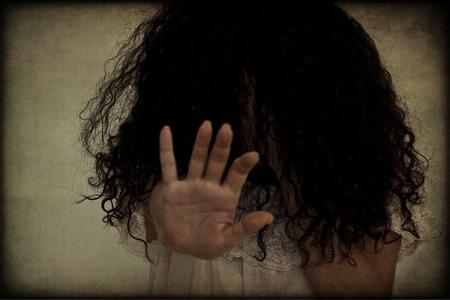 hair blacks: Stop violence against women, retro texture, concept Stock Photo