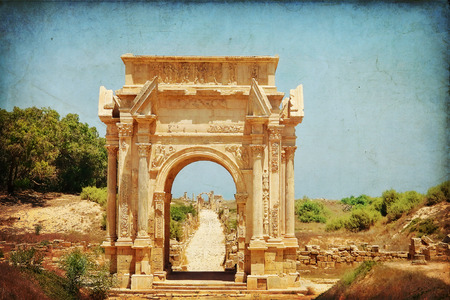severus: Arch of Septimius Severus at the entrance to the ancient city of Leptis Magna in Libya